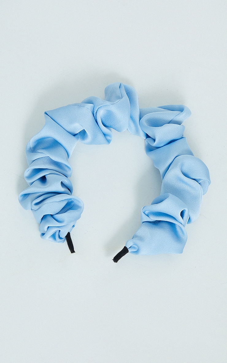 Dusky Blue Ruched Headband 2