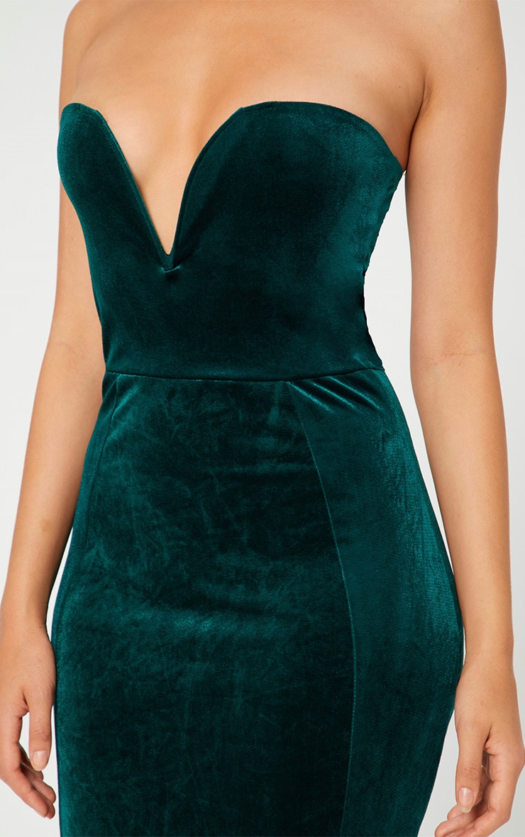 Emerald Green Strapless V Plunge Maxi Dress 4