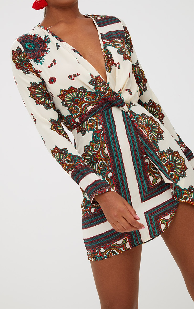 White Printed Silky Long Sleeve Wrap Dress 5