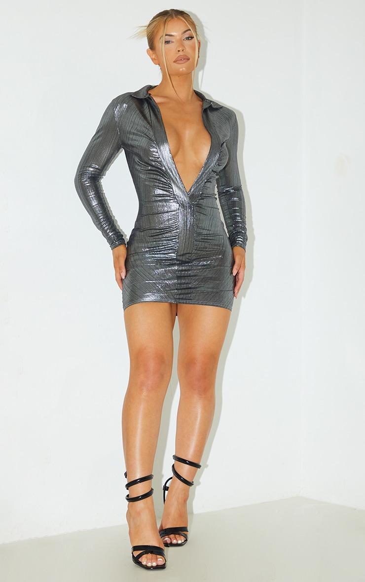 Silver Metallic Plunge Long Sleeve Shirt Detail Bodycon Dress 3