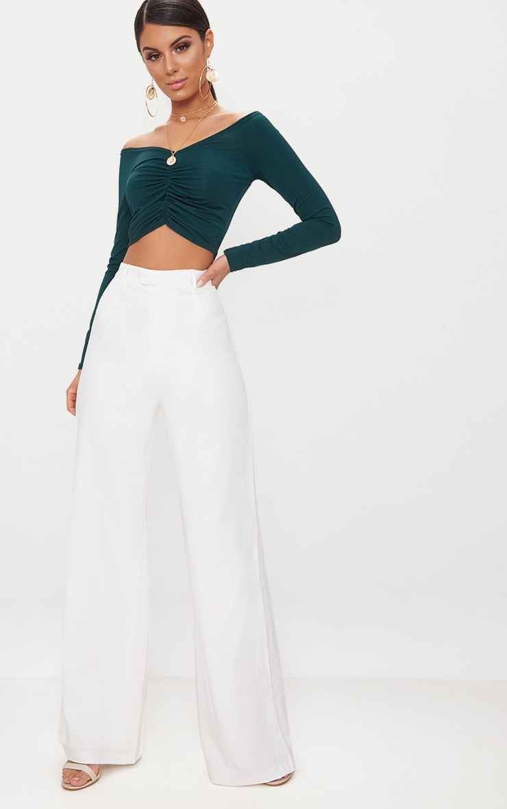 Emerald Green Slinky Ruched Front Long Sleeve Crop Top  5