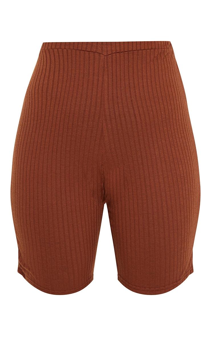 Chocolate Brown Soft Rib Bike Shorts 6