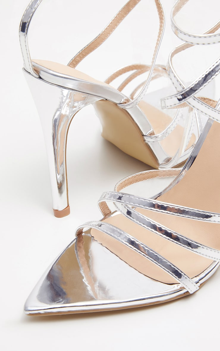 Silver Point Toe Strappy Sandals 4