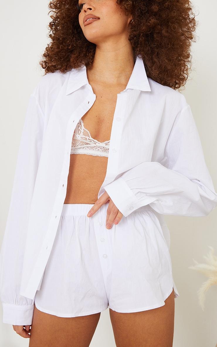 White Cotton Oversized Shirt And Boxer Shorts PJ Set 4