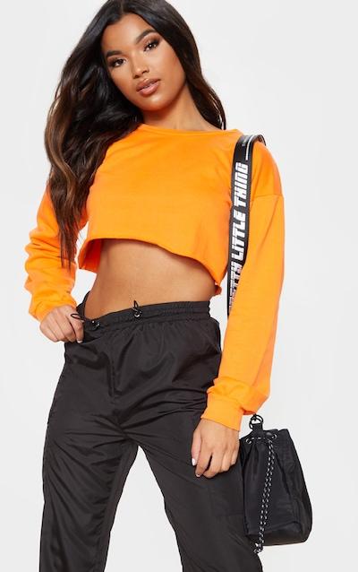 779806b2ca919 Hot Orange Cut Off Crop Longsleeve Sweater