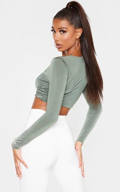 Khaki Slinky Twist Front Long Sleeve Crop Top
