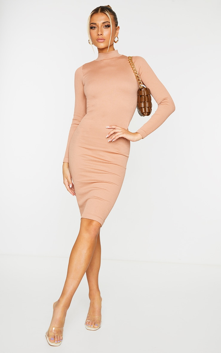 Taupe Structured Contour High Neck Midi Dress 1