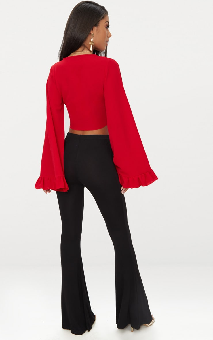 Red Tie Front Extreme Sleeve Crop Top  2