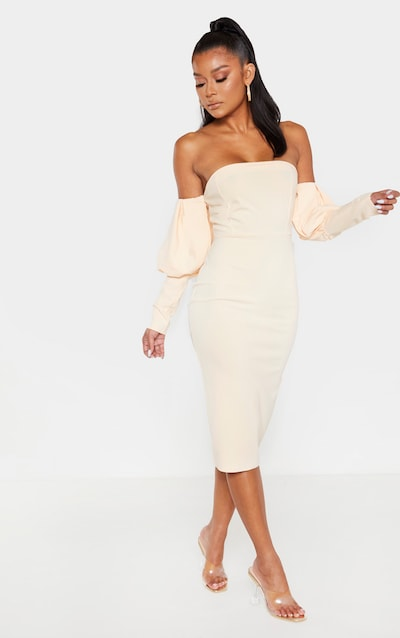 Nude Puff Sleeve Bardot Midi Dress