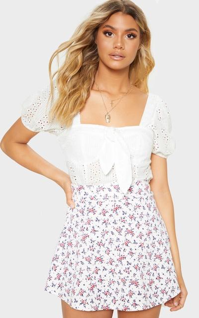 Ditsy Floral Printed Scuba Flippy Mini Skirt