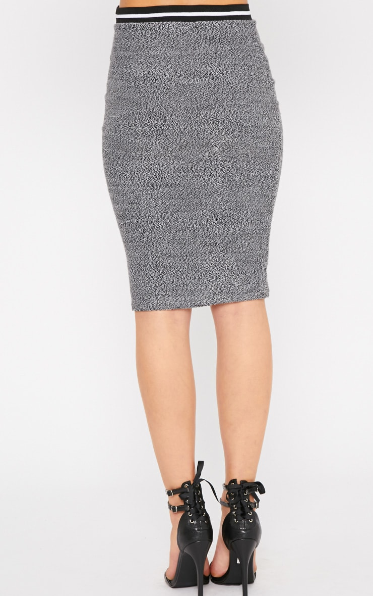 Hollie Grey Boucle Sporty Knitted Midi Skirt 2