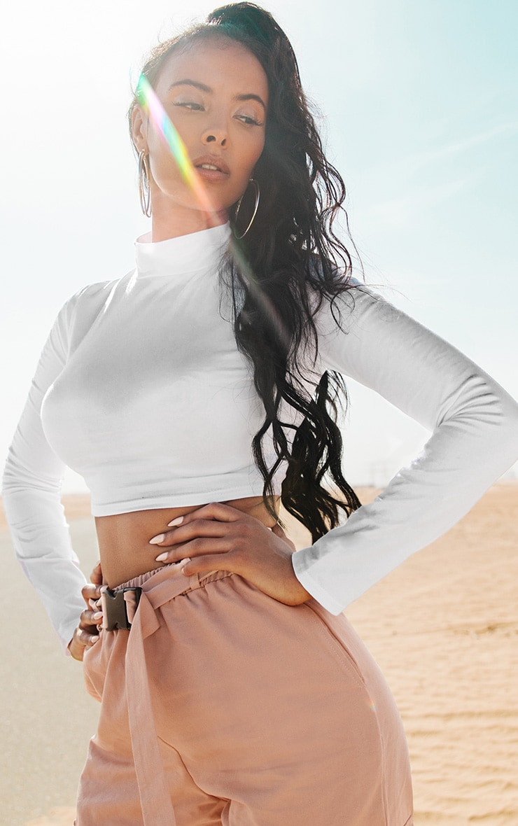 White High Neck Long Sleeve Crop Top 3