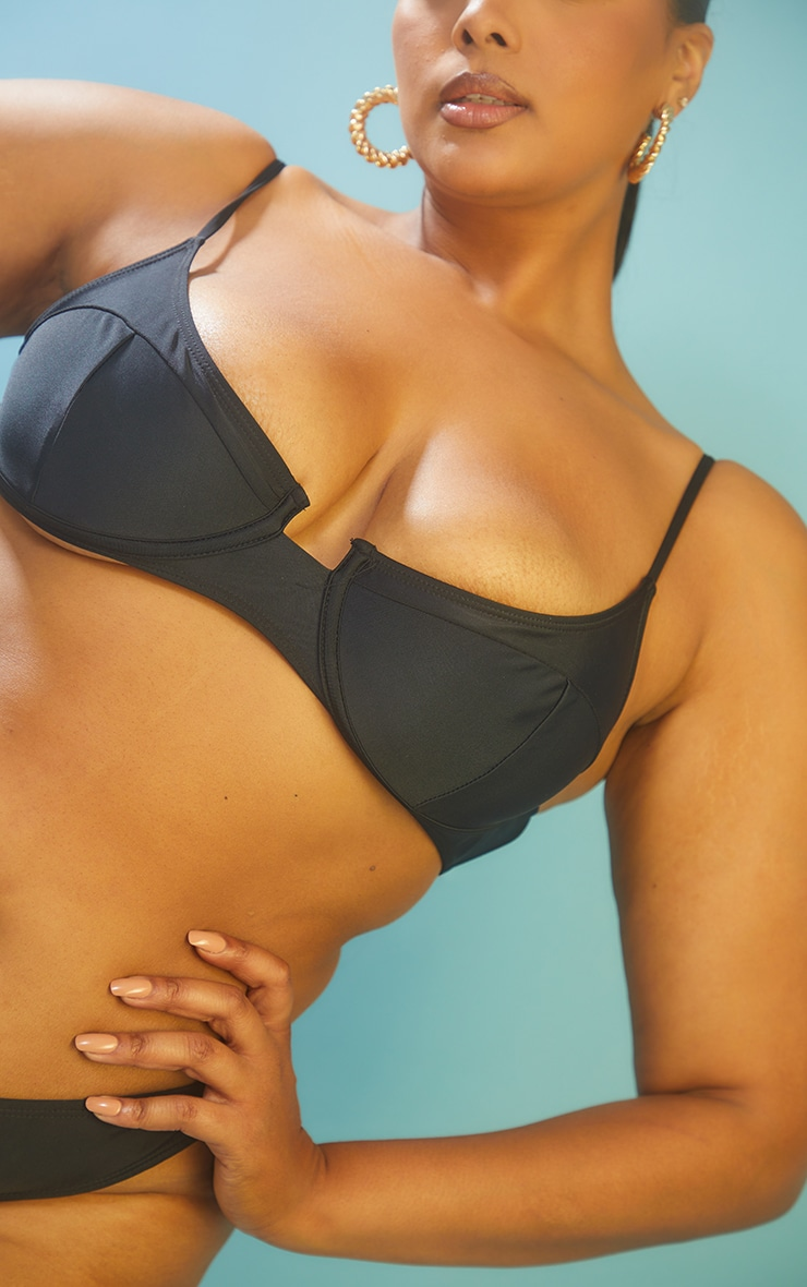 Recycled Plus Black Mix & Match Underwired Balconette Bikini Top 4