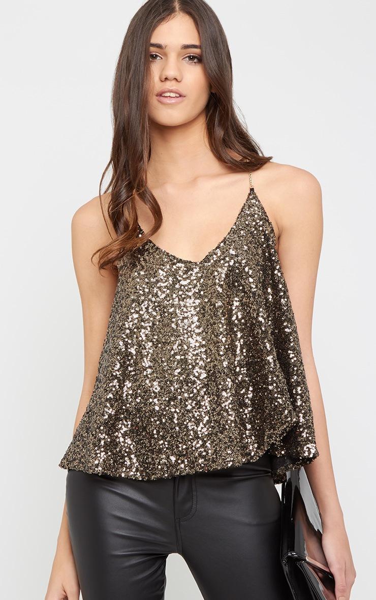 Abella Gold Sequin Chain Strap Swing Vest 1