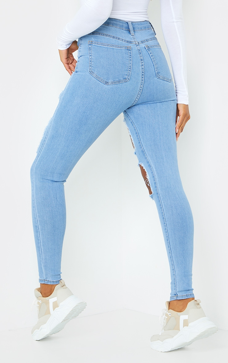 PRETTYLITTLETHING Light Wash Open Thigh Ripped 5 Pocket Skinny Jeans 3
