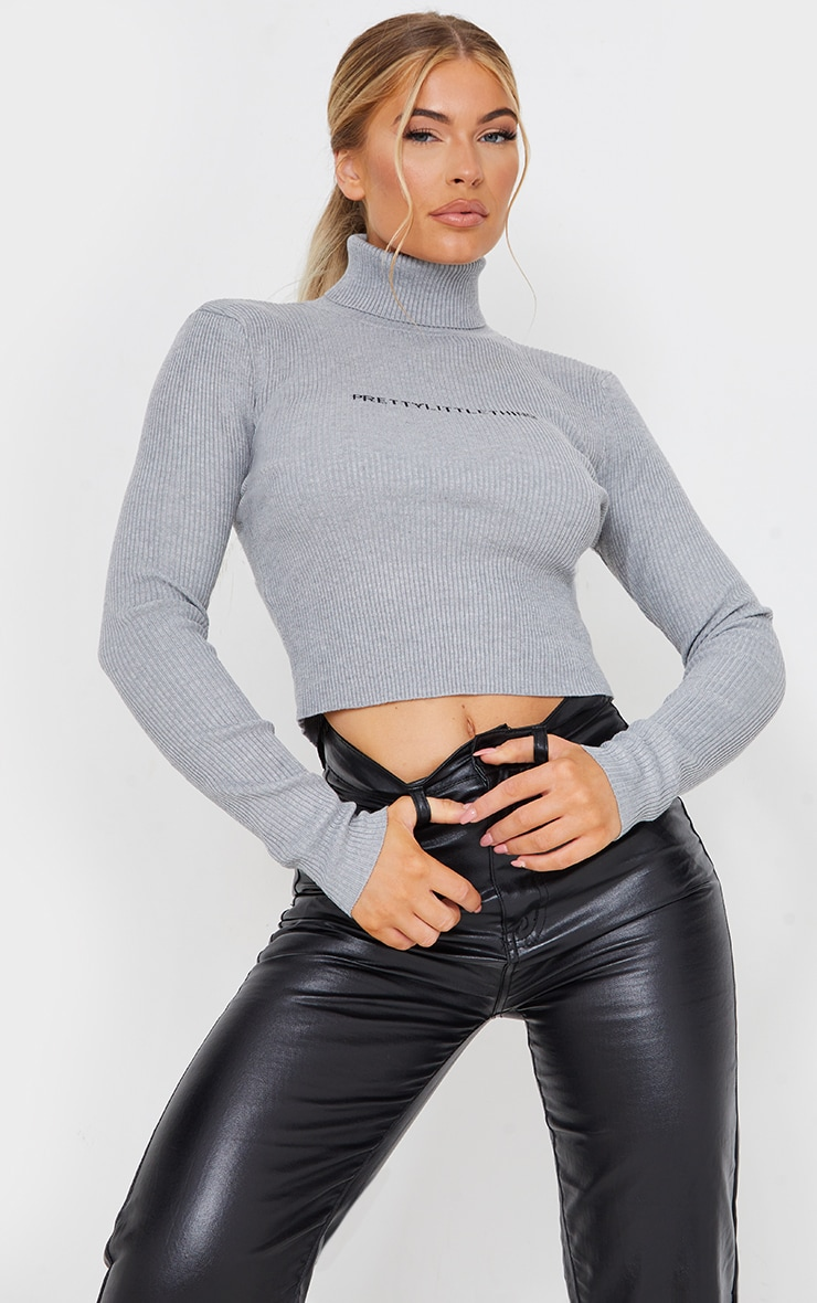 PRETTYLITTLETHING Grey Ribbed Sweater 1