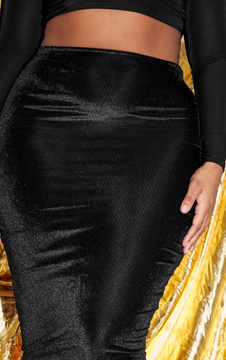 Plus Black Velvet Stripe Midi Skirt 5
