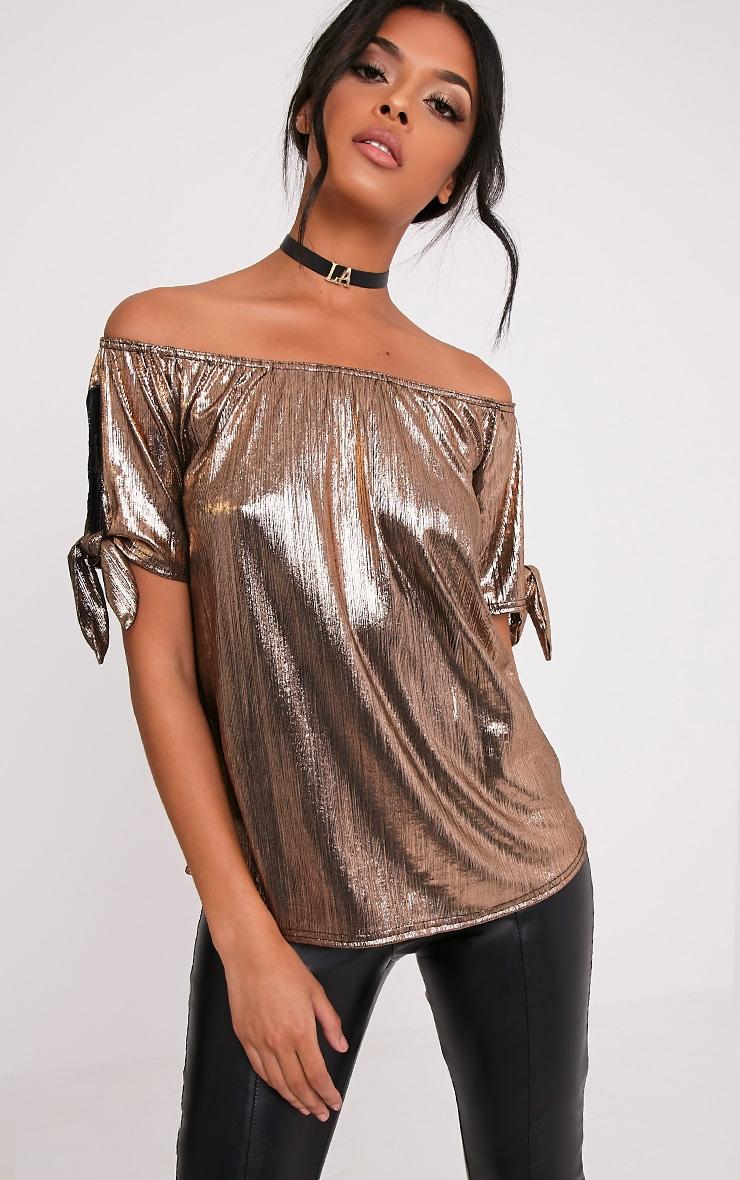 Nadina Copper Metallic Bardot Tie Sleeve Top 1