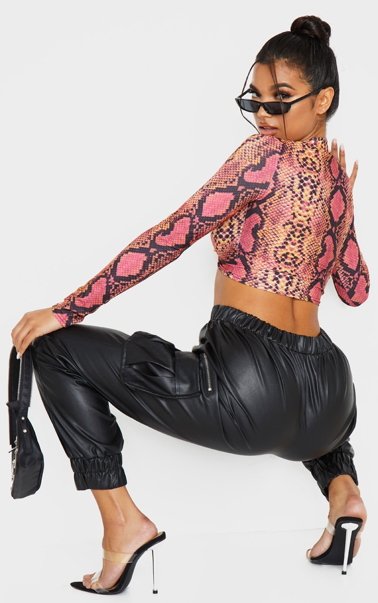Pink Snake Print Twist Front Long Sleeve Crop Top 2
