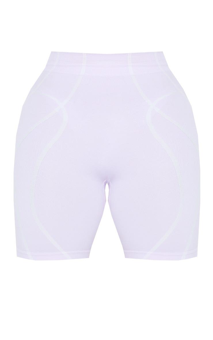 PRETTYLITTLETHING Shape Lilac Badge Gym Shorts 6