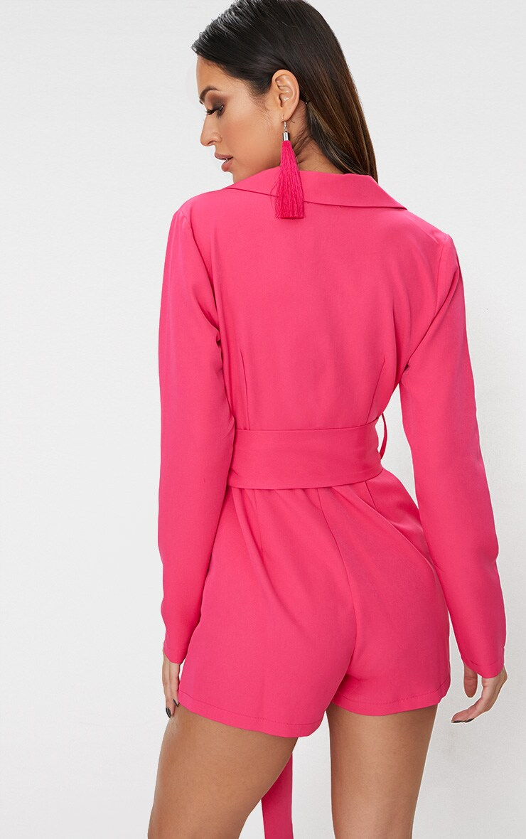 Fuchsia Tux Long Sleeve Playsuit 2