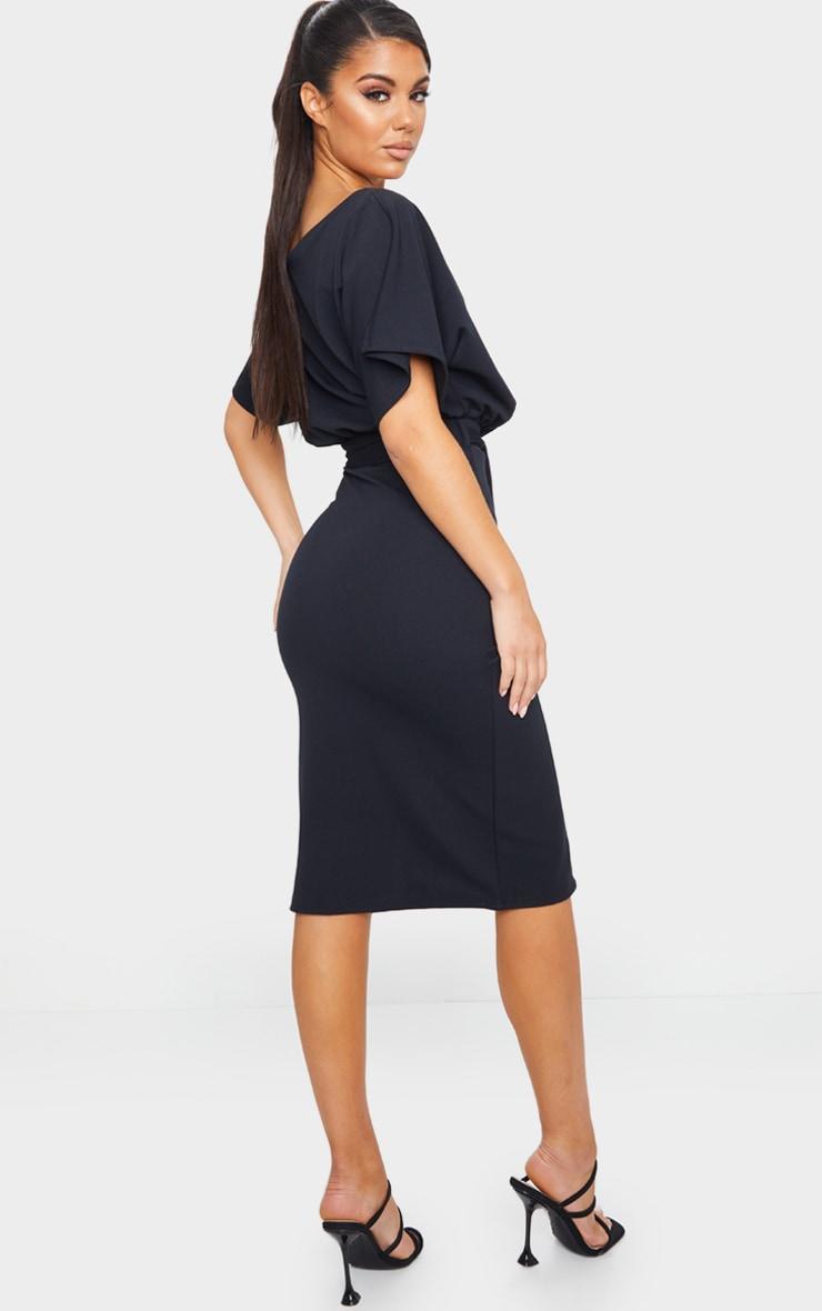 Wrap Front Black Kimono Sleeve Midi Dress 2