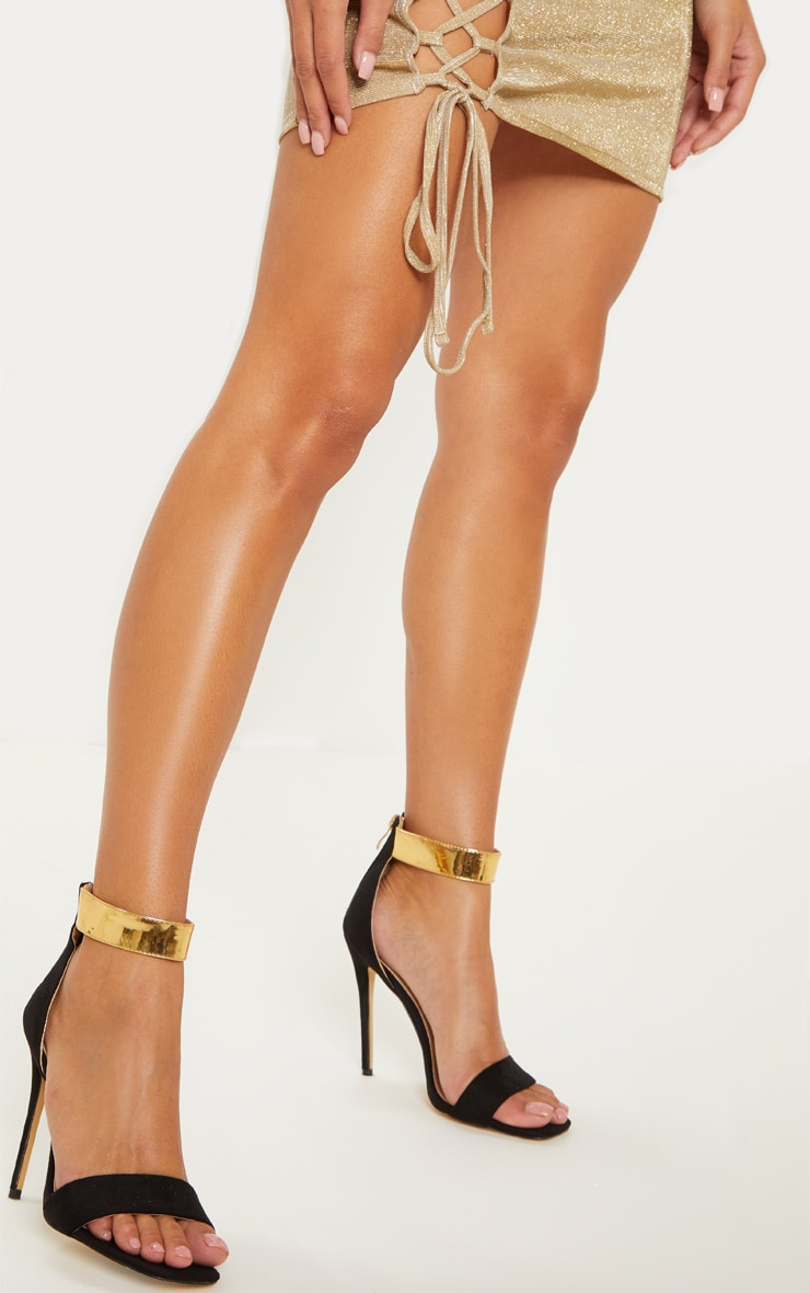 Black Square Toe Gold Cuff Strappy Sandal