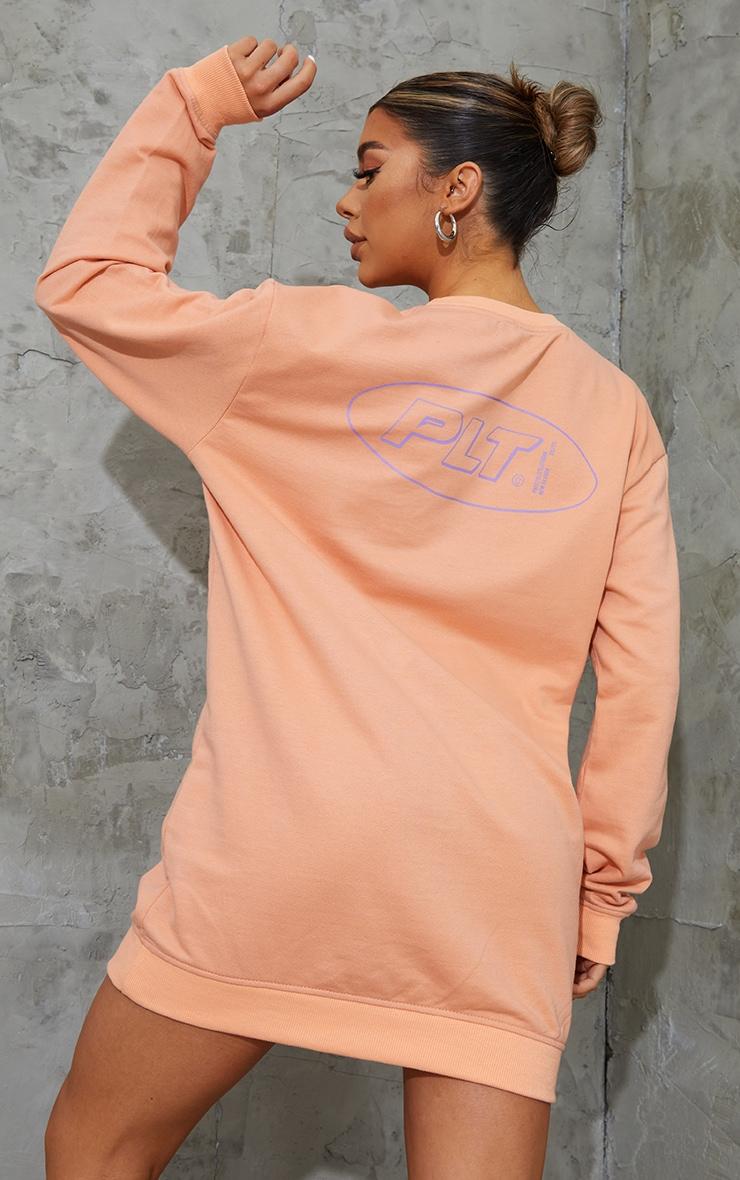 PRETTYLITTLETHING Orange Contrast Oversized Sweat Jumper Dress 2