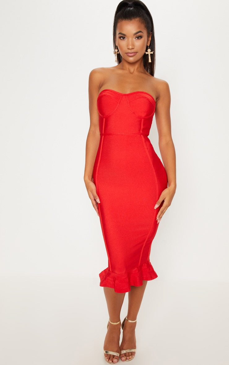 Red Frill Hem Bandage Midi Dress 1
