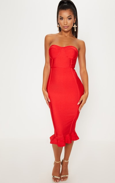 f58b406ba6 Red Frill Hem Bandage Midi Dress
