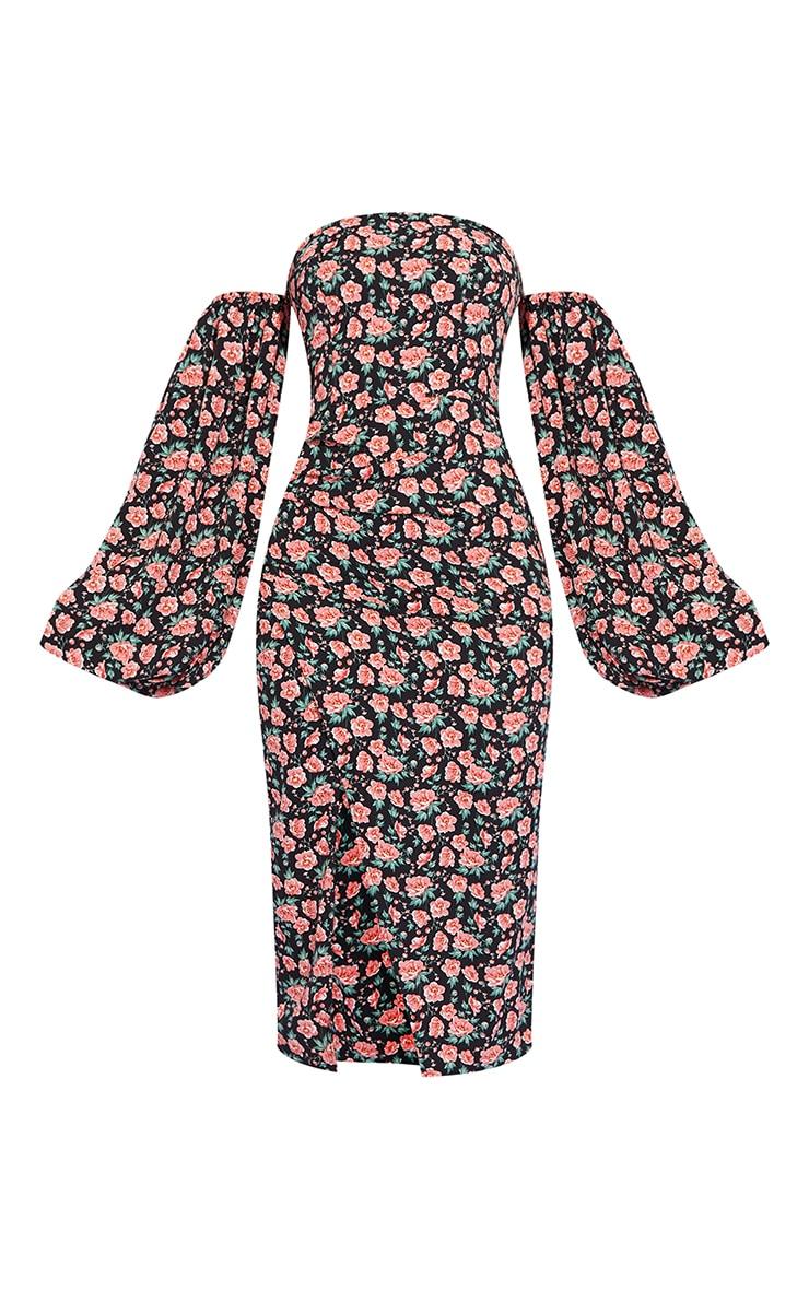 Black Floral Bardot Puff Sleeve Wrap Dress 5