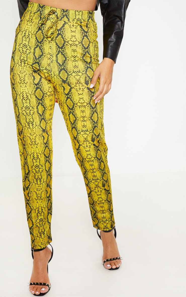 Yellow Snake Printed Cigarette Pants 2