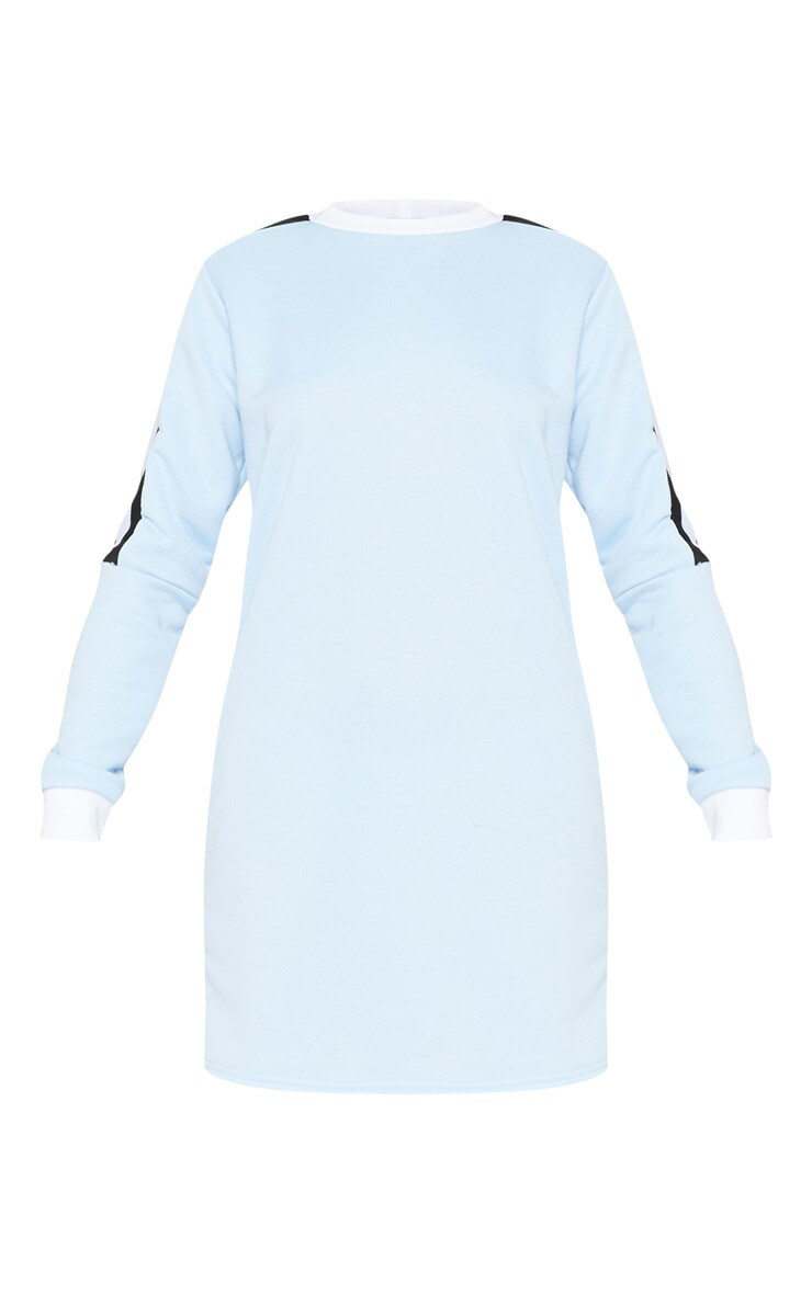 Pastel Blue Sport Stripe Long Sleeve Jumper Dress 3