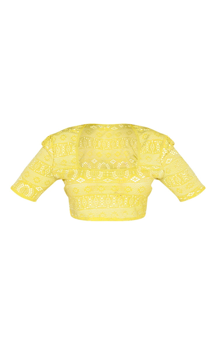 Plus Yellow Crochet Square Neck Crop Top 3