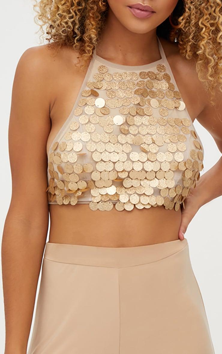 Gold Glitter Sequin Halterneck Crop Top 5