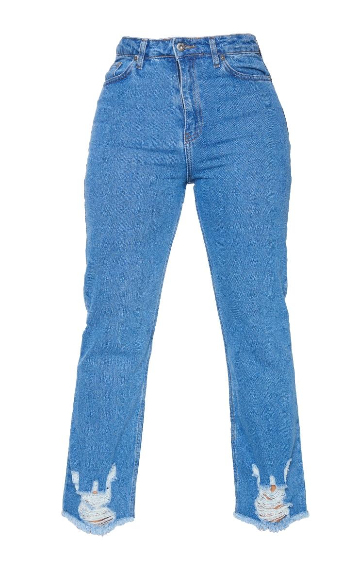 PRETTYLITTLETHING Shape Mid Blue Wash Ripped Hem Straight Leg Jeans 5