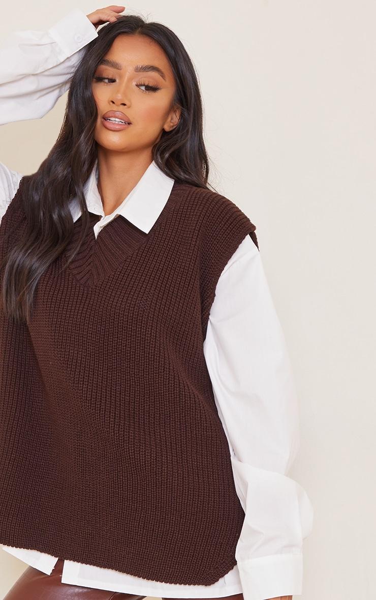 Petite Chocolate V Neck Knitted Side Split Vest 4