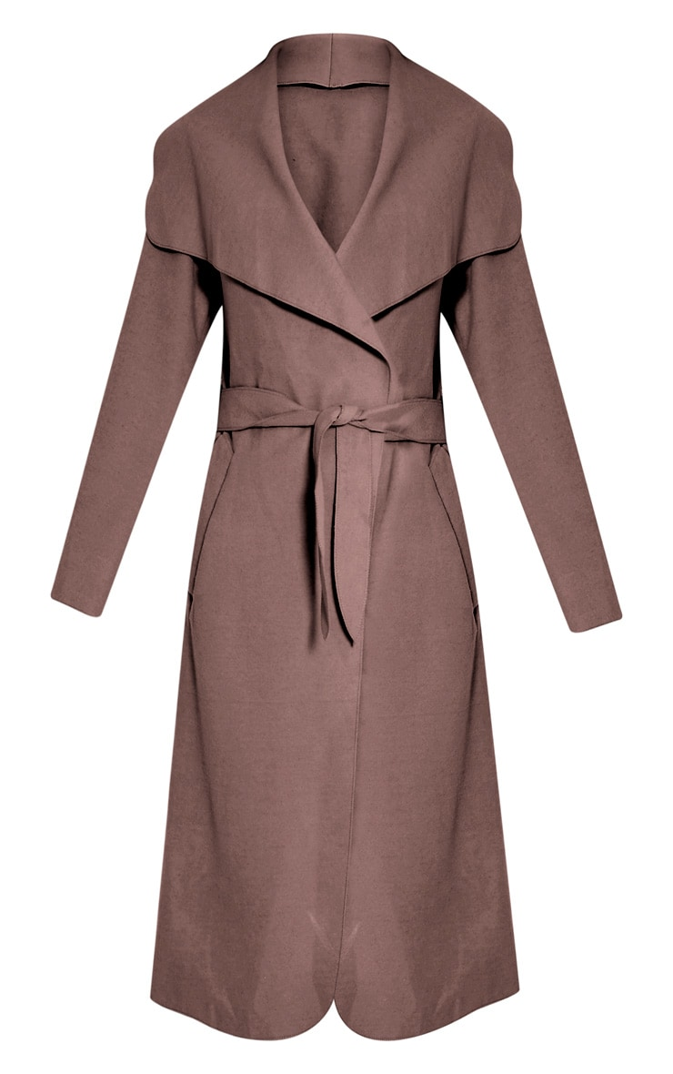 Veronica Latte Oversized Waterfall Belt Coat 3