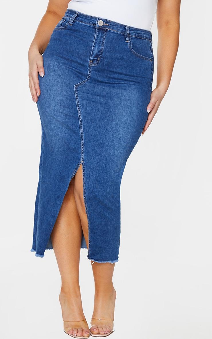 Plus Light Wash Denim Split Hem Midaxi Skirt 2