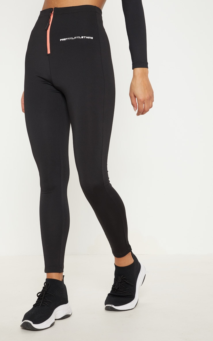 PRETTYLITTLETHING Black Zip Up Front Gym Legging 2