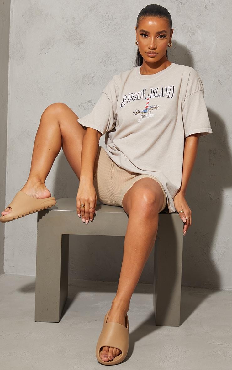 Sand Rhode Island Washed Printed T Shirt 3