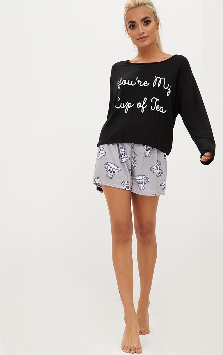 Black You're My Cup Of Tea Long Sleeve T Shirt PJ Set 3