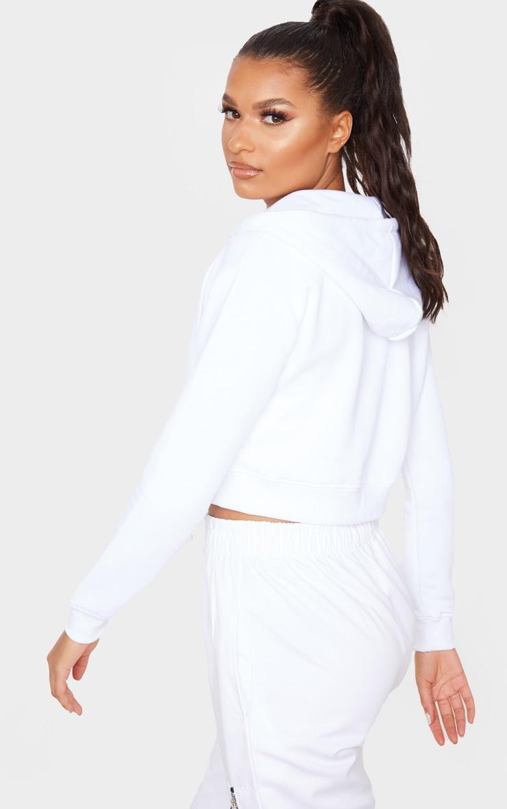 White Crop Zip Hoodie 2