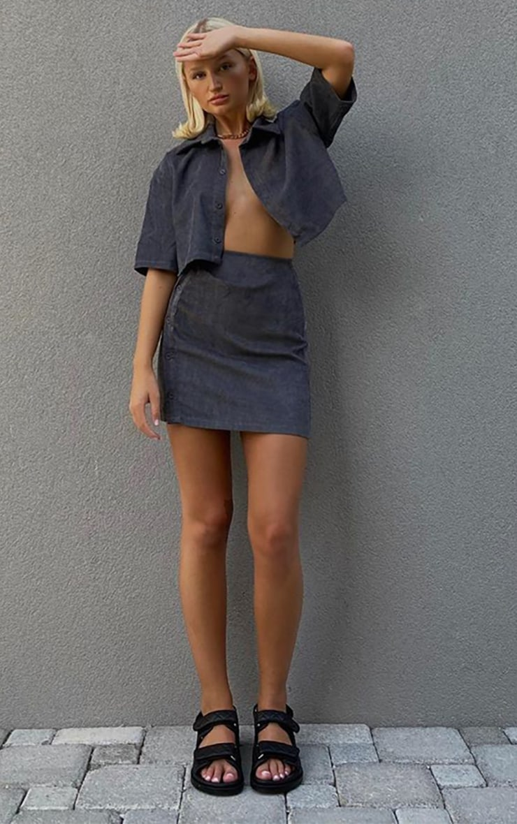 Charcoal Grey Cord Oversized Button Cropped Shirt 1