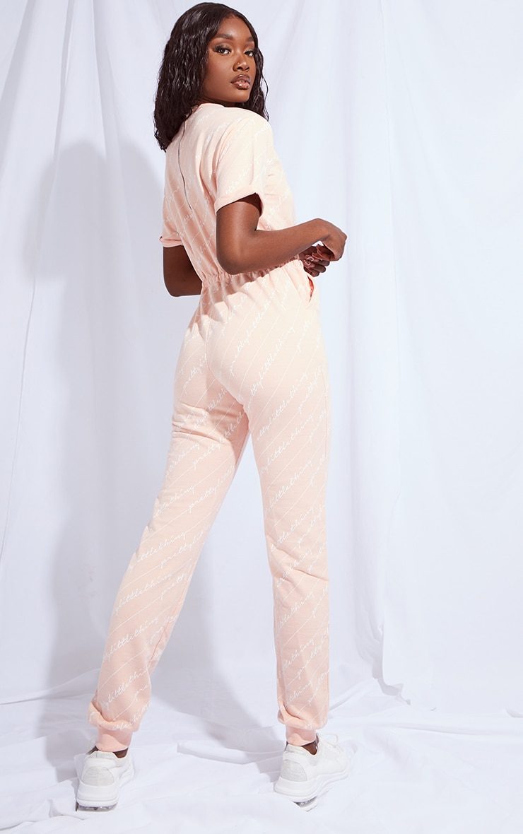 PRETTYLITTLETHING Tall Pink Short Sleeve Sweat Jumpsuit 2