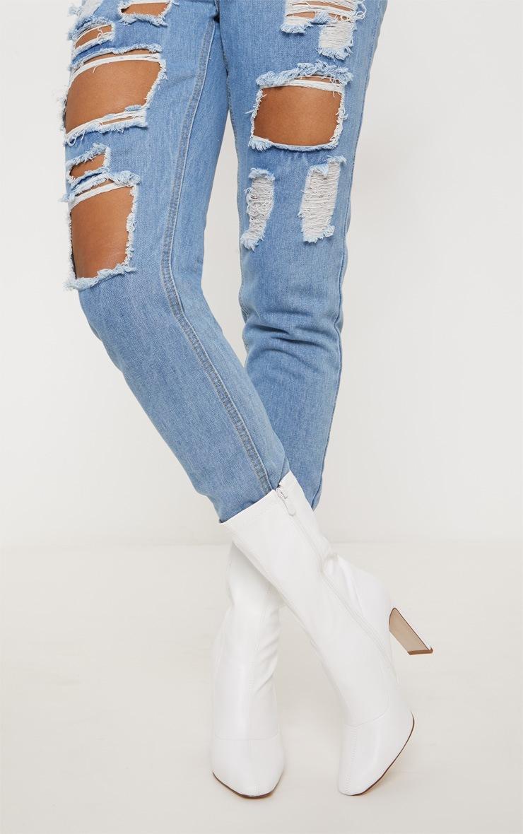 White Heeled Sock Boot