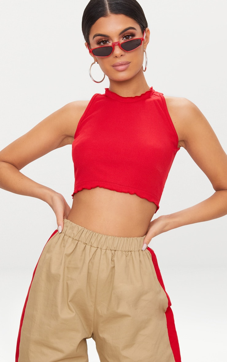 Red Rib Frill Detail High Neck Crop Top 1