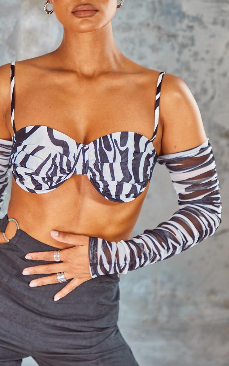 Monochrome  Zebra Print Satin Extreme Ruched Cold Shoulder Cup Detail Crop Top 4