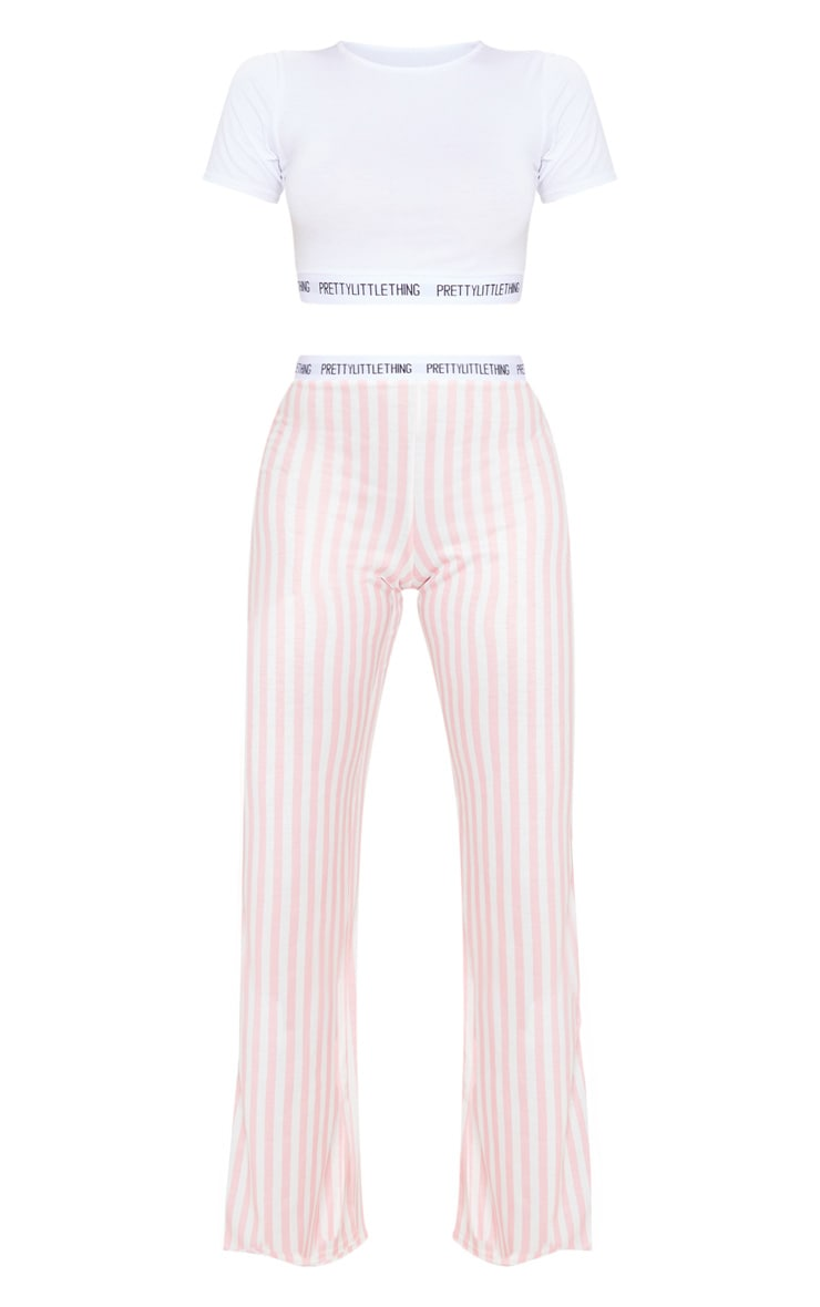 PRETTYLITTLETHING Pink Stripe Trouser PJ Set 3