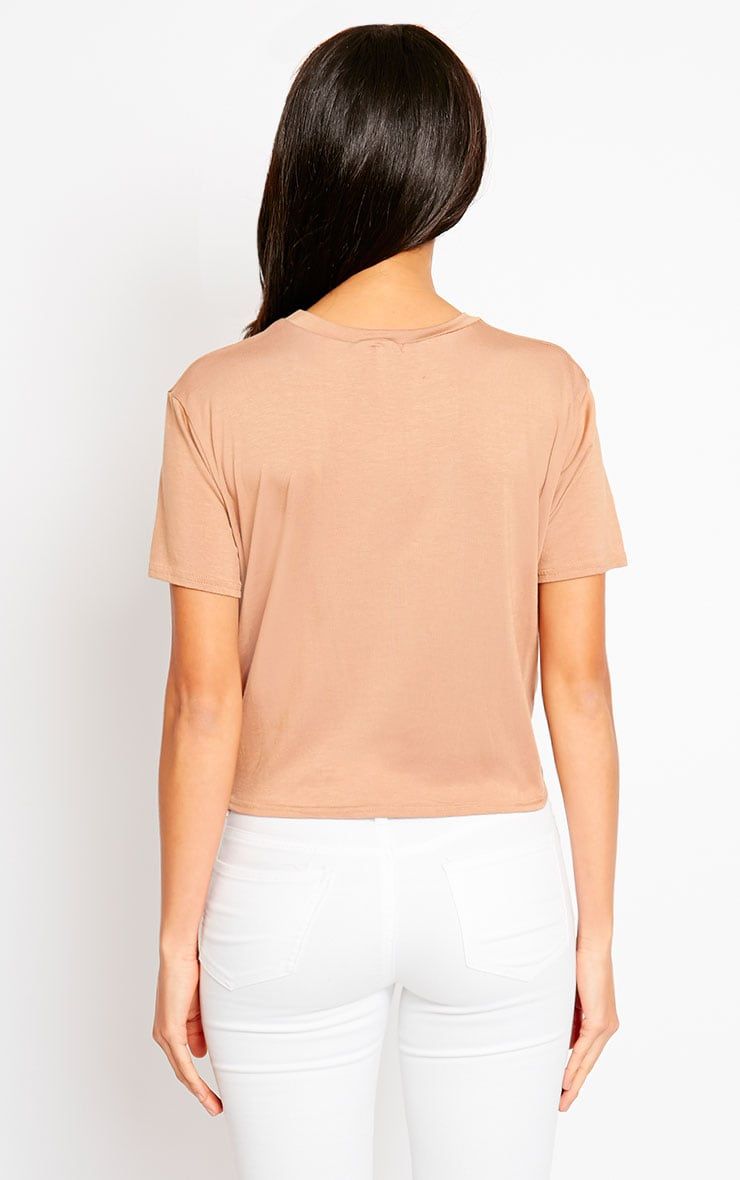 April Camel Tie Front Crop Tee 2